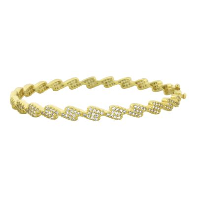 Pure 925 Sterling Silver and Simulated Diamonds Zig-Zag Design Bracelet, 21 cm