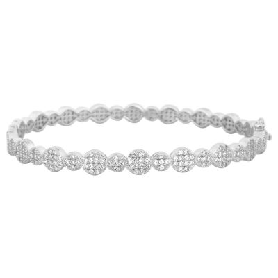 Pure 925 Sterling Silver and Simulated Diamonds Mosaic of Circles Design Bracelet, 21 cm