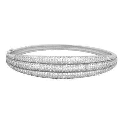 Pure 925 Sterling Silver and Simulated Diamonds Mosaic Design Bracelet, 21 cm